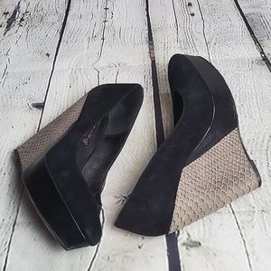 Steve Madden Suede/Leather Wedged Heels